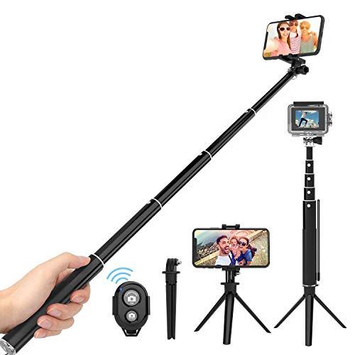 ThiEYE Bastone Selfie Telecomando Bluetooth Staccabile Treppiede Selfie Stick 87cm in Alluminio Regolabile Multifunzione per Smartphone iPhone/Galaxy, Action Cam Gopro/AKASO/YI/Crosstour/DJI