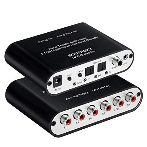 SOUTHSKY 5.1CH Convertidor de Audio Sonido Envolvente, 3.5mm y Digital SPDIF óptico Coaxial a 6 RCA Analógico, Apoyo Decodificador Dolby AC3 DTS, Cine en Casa de 5.1 Canales