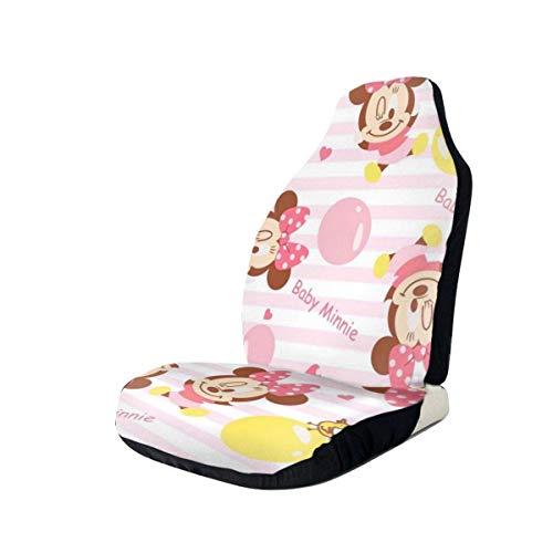 FETEAM 2Pcs Fundas para Asientos Minnie bebé Rosa Universal Auto Accesorios Protectores Funda de Asiento