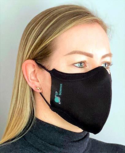 Silver Life Gesichtsmasken 2er-Pack Silver-Ion-Technologie 3D-Stricknasendraht Ganztägiger Komfort Luftverschmutzungsschutz Sportkleidung Waschbar Kostengünstig Einstellbar Unisex Schwarz
