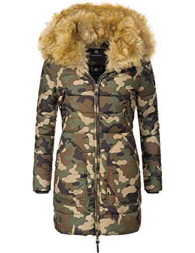 Marikoo Damen Winter-Mantel Steppmantel Knuddelmaus (vegan hergestellt) Camouflage Gr. XL