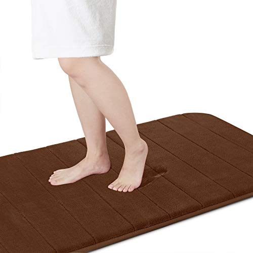 Yimobra Memory Foam Bath Mat Runner, Large Size 140 x 61 cm, Soft and Comfortable, Super Water Absorption, Non-Slip, Thick, Machine Wash, Easier to Dry for Bathroom Floor Rug, Brown