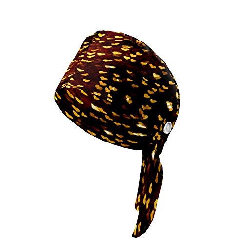 Sombrero con patrón de corazón de amor con botón banda para el sudor, turbante para mujeres y hombres, unisex, gorro de trabajo ajustable