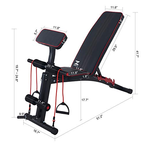 ZELUS Adjustable Weight Bench with Roman Chair   Inclined Workout Bench for Home Use   Home Gym Fitness Preacher Curl Bench   Exercise Bench Strength Training Equipment