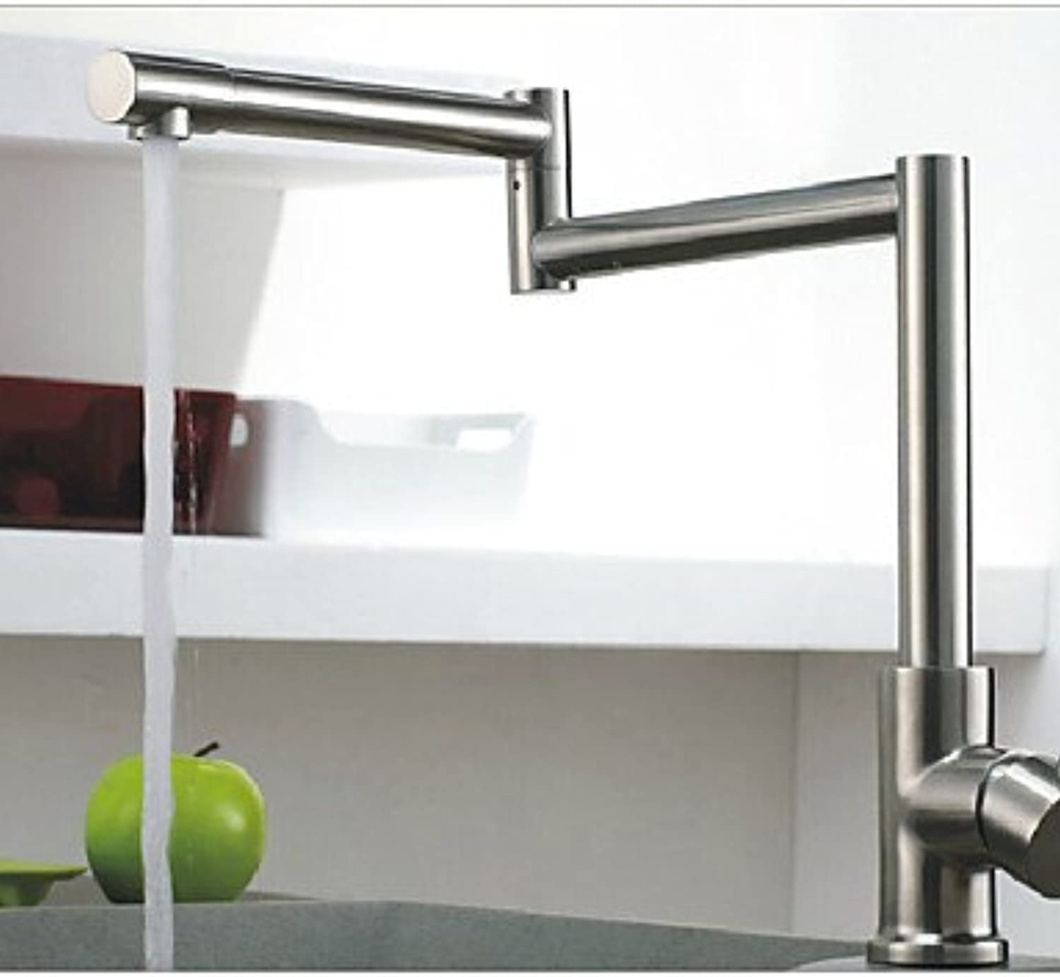 KHSKX redatable Brushed Nickel Kitchen Faucet Folding Single Handle Mixer Tap