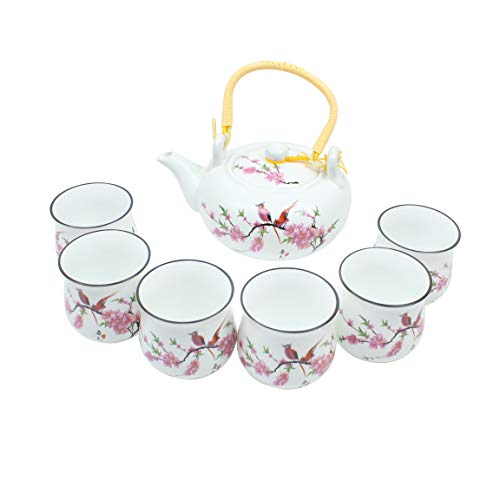 Pink Cherry Blossom Traditional Porcelain Loose Leaf Chinese Teapot 20oz Set With 6 Unquie Tea Cup 5.9 oz Antique Vintage Great For Brewing Oolong Jasmine Chai English Breakfast Chammomile