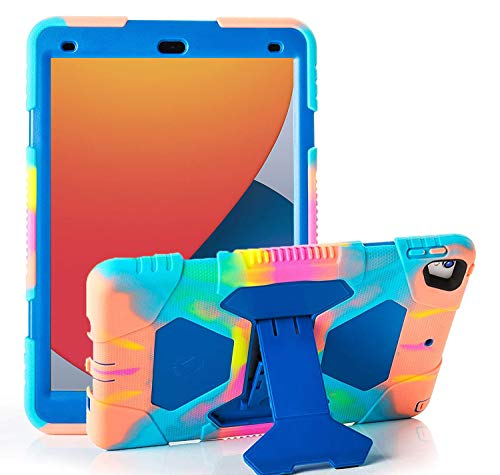 iPad 10.2 Case 2020 iPad 8th Generation Case Heavy Duty Shockproof Soft Silicone Cover with Pencil Holder Kickstand - Blue Colorful