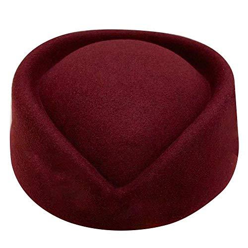 chivalrylist Stewardess hoed vliegbegeleider muts wolvilt Stewardess hoed one_size bordeauxrood (wine red)
