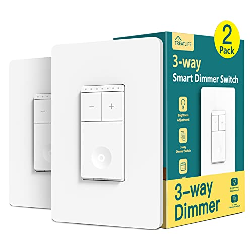 3 Way Smart Dimmer Switch 2 Pack Treatlife Single Pole Smart Switch Compatible with Alexa, Google Assistant, WiFi Light Switch Remote Control, Neutral Wire Needed, Schedule, No Hub Required