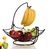 fruit basket + detachable banana holder, elegant fruit bowl with banana tree hanger, black or chrome for the classic look (black)