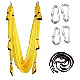 EverKing Aerial Yoga Swing - Ultra Strong Antigravity Yoga Hammock/Sling/Inversion Tool for Air Yoga Inversion Exercises (Yellow)