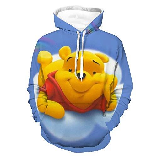 Winnie The Pooh Face Hoodies Sudadera con Estampado Completo con Capucha para Hombre Manga Larga Patrón de Moda Cozy 5XL