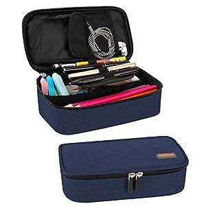 Mäppchen, RAGZAN Großformatiges Federmäppchen Taschenbeutelhalter Schreibwaren Schreibtisch-Organizer mit Reißverschluss für Schul- und Büromaterial (Blau)