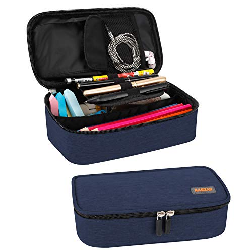 RAGZAN Big Capacity Pencil Case, Oxford Cloth Pencil Bag Storage Pouch Pen Pencil Marker Stationery Bag Holder for Middle High School College and Office, Idea Gift for Back to School Season - Blue