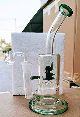 Animal Glass Bong Dab Rig Tubos de agua Bongs Grueso Honeycomb Perc Pipe Bowl Quartz Banger Wax Oil Rigs Heady Bongs (elefante verde)