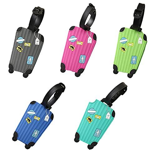 5 Stück Silikon Gepäckanhänger Bunter Gepäckanhänger Cartoon Gepäckanhänger Kofferanhänger Mit Adressschild Gepäckanhänger Aufgegeben Tag Zur Identifizierung Von Tasche Zu Vermeiden Sie Gepäckverlust