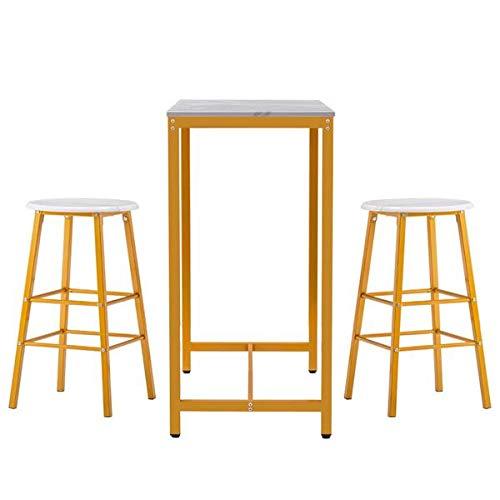 Einfaches Bartisch-Set, PVC-Marmor-Tisch und Stühle, Esszimmer-Set, Küche, Thekenhöhe, Esstisch-Set mit 2 Barhockern