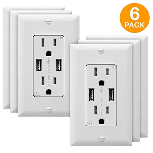 TOPGREENER 3.1A USB Wall Outlet Charger, 15A Tamper-Resistant Receptacles, Compatible with iPhone XS/MAX/XR/X/8, Samsung Galaxy S9/S8/S7, LG, HTC & other Smartphones, UL Listed, TU2153A, White 6 Pack