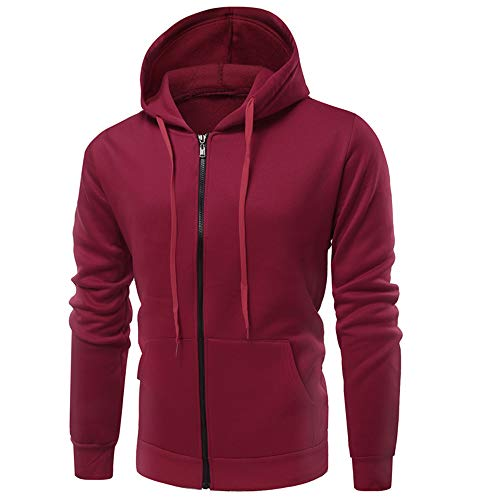 ZYUD Autumn and Winter New Men Sweater Men Sports and Fitness Cardigan Hooded Jacket Men's Hoodie Sweatshirt Jumper Coat Jacket Zip Up Mens Casual Sports Pullover Hoody Tracksuit Tops Wine Red