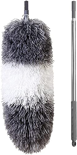 """BOOMJOY Microfiber Duster Set with Extension, 2 Packs, Large 100"""", Small 32"""", Detachable Bendable Head, Scratch-Resistant Cover, Extendable Stainless Steel Pole, Washable, Grey"""
