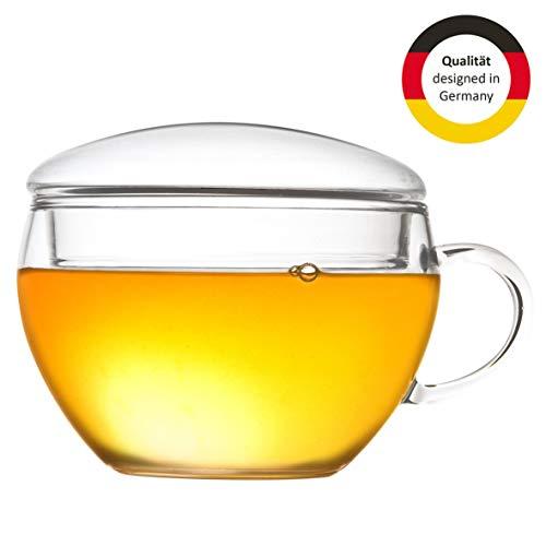 Creano Teeglas mit Deckel, praktisch für ErblühTeelini oder Teebeutel, Latte Macchiato, Kaffee, 2-teilig, 200 ml