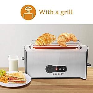 Aigostar Sunshine 30KDG - Grille-pain 2 fentes extra-longues et remontée extra-haute. 7 niveaux de brunissage et fonctions décongeler et réchauffer. 1600W, argent, acier inoxydable 0% BPA