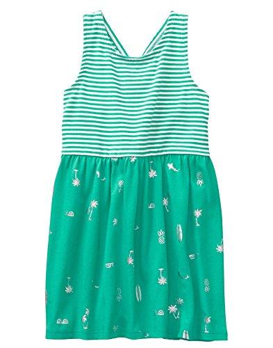 Gymboree Girls' Little Sleveless Cross Back Dress, Bright Teal, M