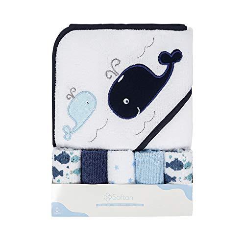 Softan Baby Kapuzenbadetuch und Waschlappen, Extra weich und ultra saugfähig, 6 Pack Geschenk für Neugeborene und Kleinkinder, Wal