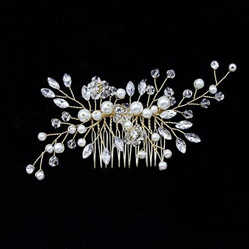 Accesorios para el cabello para bodas, pinzas para el cabello, accesorios para el cabello para niñas y novias, flores, maquillaje denifery, accesorios para el cabello para damas(Gold)