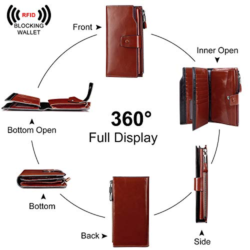 S-ZONE RFID Blocking Wallet Large Capacity Wax Genuine Leather Purse with Zipper Pocket