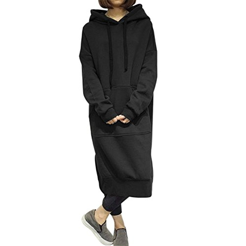 Damen Oversize Kapuzenpullover Hoodie Sweatshirt Maxi-Kleid beiläufige Jumper Pullover Lange Tops Mantel Parka Hoodies