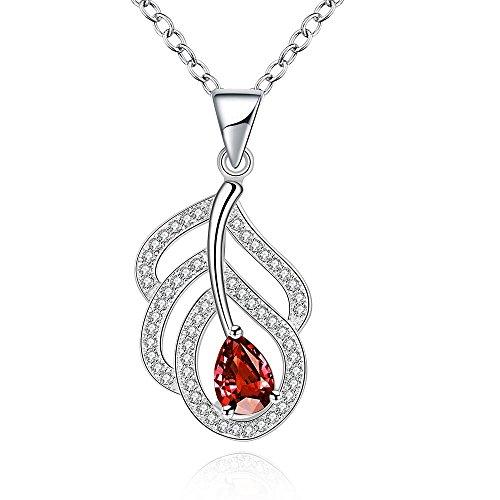 Thumby Plant Koper Kabel Ketting Hanger Ketting Romantisch Blad met Rode Zirkoon Vrouwelijke Ketting, zilver
