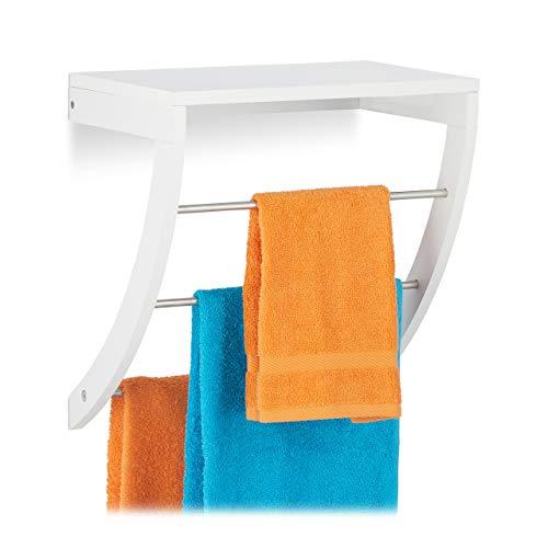 Relaxdays Wandhandtuchhalter Bad, 3 Handtuchstangen aus Edelstahl, Wandmontage, mit Ablage, HxBxT: 40 x 38 x 25 cm, weiß