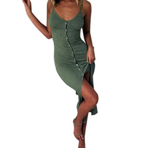 Kleid Damen Kolylong® Frauen Reizvoller V-Ausschnitt Ärmelloses Kleid Lang Elegant Split Maxi Kleid Stretch Strandkleid Cocktail Bodycon Partykleid Abendkleid Shirt Tops (S, Armeegrün)