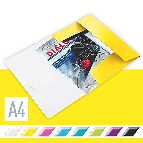 Leitz WOW Eckspannermappe aus Kunststoff, A4, Gummizugverschluss, Gelb, WOW, 45990016