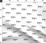 Nashorn, Nashorn Stoff, Grau Und Weiß, Niedlich, Safari