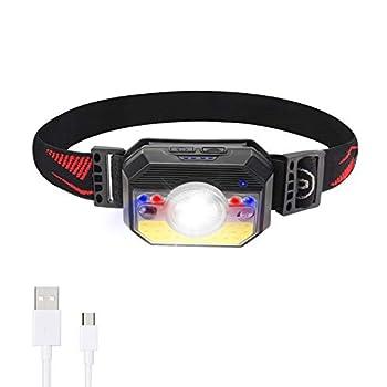 SZ-Climax Lampe Frontale, Torche Frontale LED USB Rechargeable Puissante, Détecteur de Mouvement, Étanche et Léger pour Pêche, Camping, Lecture, Randonnée