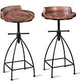 Diwhy Industrial Vintage Rustic Bar Stool,Wooden Top Stool Kitchen Counter Height Adjustable,Iron Stoo,Swivel Stool,24 Inch,Low Backrest,Hump Surface,Fully Welded Set of 2 (Brown Wooden Top)