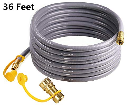 DOZYANT 36 Feet 3/8 inch Natural Gas Hose with Quick Connect for BBQ Gas Gril Low Pressure Appliance -3/8 Female Pipe Thread x 3/8 Male Flare Quick Disconnect - CSA Certified Connectors Grill Hoses