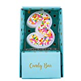 Sweety Colorful Candy Number Cake Topper Candle for Brithday Party Baby Shower and Wedding Party Supplies Favor (Three)