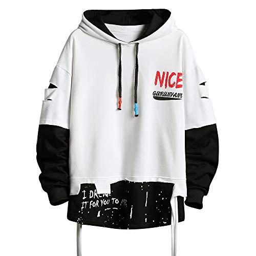 Herren Mode Trends Hoodies Hip Hop Patchwork Pullover Hoodie Top - Wei� - X-Large