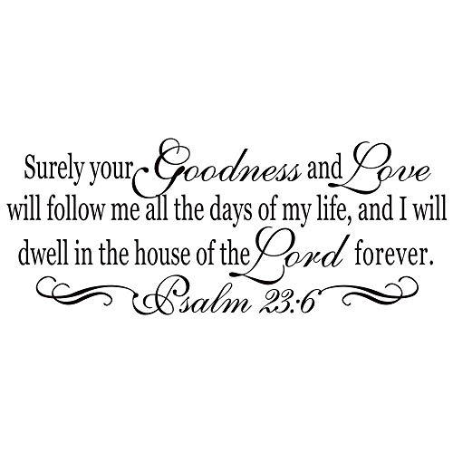 hsowe Psalm 23︰6 Bibel Vers Vinyl Wandaufkleber Dekoration Christian Quote Wall Murals Vinyl Bibel Text Aufkleber