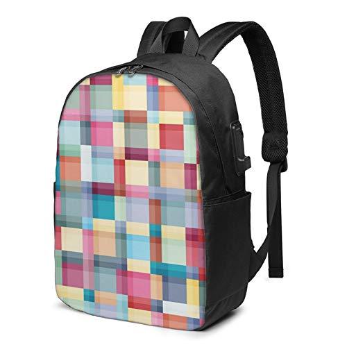 Laptop Rucksack Business Rucksack für 17 Zoll Laptop, Badfarben Schulrucksack Mit USB Port für Arbeit Wandern Reisen Camping, für Herren Damen