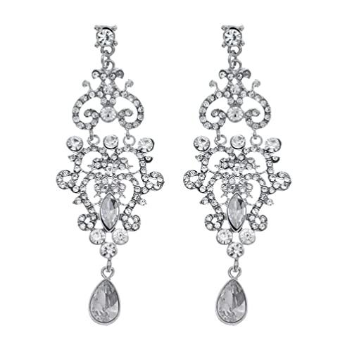 Holibanna 1 Pair Baroque Style Earrings Rhinestone Ear Pendants Delicate Ear Jewelries
