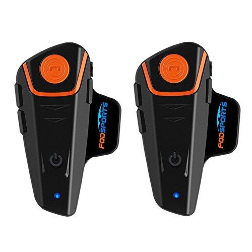 Fodsports BT-S2 Casco da Moto Interphone Auricolare Communicator per Casco del Motociclo Bluetooth Citofono per 2 o 3 Piloti per Walkie Talkie GPS MP3 Player FM Radio (2 Pack Hard Cable Headsets)