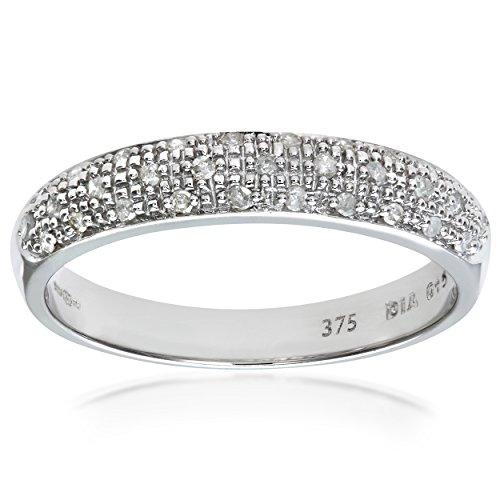 Naava Women's Eternity Ring, 9 ct White Gold Diamond Ring, Pave Set, 0.15 ct Diamond Weight