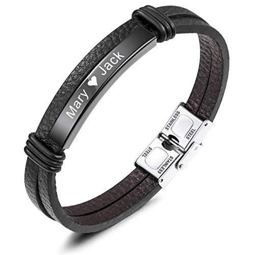 MeMeDIY Name Armband Personalisierte Armbänder für Frauen Armbänder für Jungen Männer Mädchen Edelstahl Echtes Leder Gravur Geflochtene Manschette Einstellbar (Schwarz Etikett)