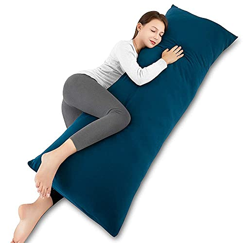 INSEN 55in Full Body Pillow,Maternity Body Pillow,Long Side Sleeping Body Pillow for Adult and Pregnant Women-with Body Pillow Cover (Navy Blue)