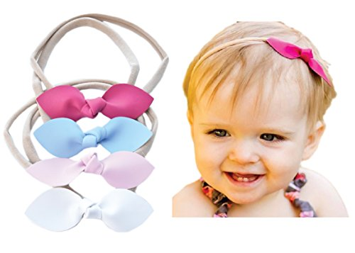 Rabbit Ears Faux Leather Bow - Soft & Stretchy Headband for Baby, Toddler, Girls, Set of 4 (Nautical)