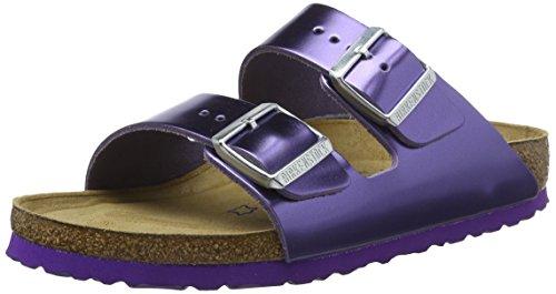 BIRKENSTOCK Damen Arizona Leder Softfootbed Pantoletten, Violett (Metallic Violet), 35 EU